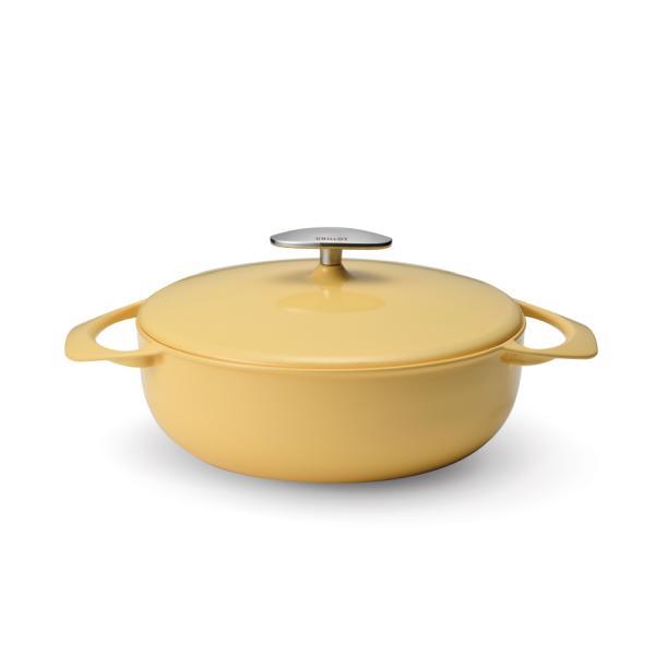 【燕三条製】軽い!ユニロイ(公式ショップ)鋳物ホーロー鍋キャセロール浅型22cm(IHオール熱源対応)
