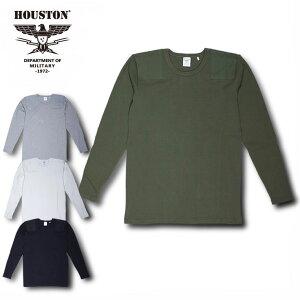2018S/S『HOUSTON/ヒューストン』21434COMMANDL/STEE/コマンドロングスリーブTシャツ-全4色-/コットン/シンプル/ブラック/グレー/ホワイト/カーキ/【チケット対象】[21434]