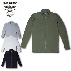 2018S/S『HOUSTON/ヒューストン』21435COMMANDZIPL/STEE/コマンドジップロングスリーブTシャツ-全4色-/コットン/シンプル/ブラック/グレー/ホワイト/カーキ/【チケット対象】[21435]