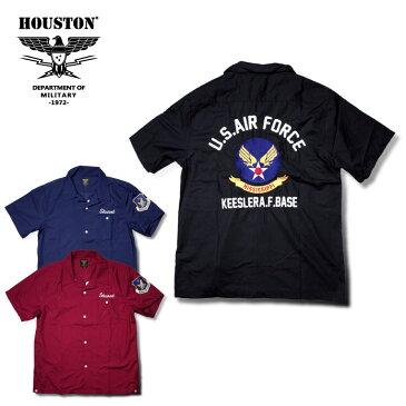 2018S/S『HOUSTON/ヒューストン』40430 BOWLING SHIRT(USAF) /ボウリングシャツ(エアフォース) -全3色-/エンブレム/ボーリング/猫目ボタン/軍/アメリカ/ワッペン/刺繍/ユニオンネットストア【チケット対象】[40430]