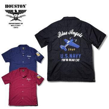 2018S/S『HOUSTON/ヒューストン』40431 BOWLING SHIRT(BLUE ANGELS) /ボウリングシャツ(ブルーエンジェルス) -全3色-/エンブレム/ボーリング/猫目ボタン/NAVY/アメリカ/ワッペン/刺繍/ユニオンネットストア【チケット対象】[40431]