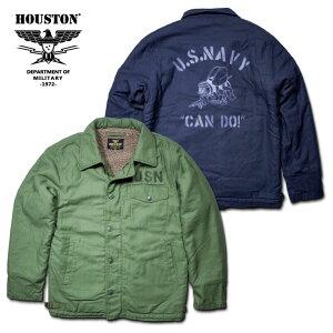 2018A/W『HOUSTON/ヒューストン』50755PRINTA-2DECKJACKET/プリントA-2デッキジャケット-全2色-/バックサテン/コットン/ボア/襟/リブ/USN/アジャスター/ワスプ/アメリカ海軍/ユニオンネットストア[50755]