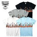 2019S/S『HOUSTON/ヒューストン』21600 PRINT TEE(GUITAR) /プリントTシャツ(ギター) -全4色-/20/-コットン/アロハ/ハワイ/パイナップル/ユニオンネットストア【チケット対象】[21600]