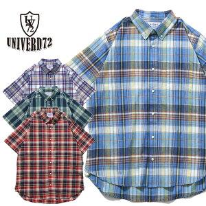 2019S/S『UNIVERD72/ユニバード72』40614 MADRAS B.D. SHIRT / マドラス ボタンダウン シャツ -全4色-/チェック/薄手/コットン/インド/半袖/ユニオンネットストア[40614]