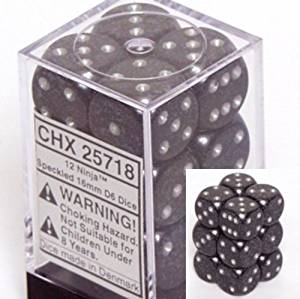 ゲーム, その他 ChessexChessex d6 16mm 12 Dice Set Speckled Ninja CHX 25718 cb