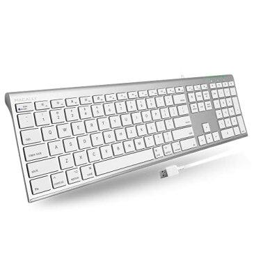 MacallyR Mac用 静音性に優れたシザースイッチ(パンタグラフ)110キー採用 スリム英語USBアルミ 有線キーボード iMac Pro iMac MacBook Pro MacBook Air対応 MacとWindowsPC 対応 (ACEKEYA)