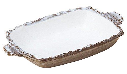 萬古焼 オーブン対応 耐熱 角グラタン 粉引 09933