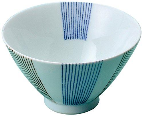 奥川陶器 二色帯十草 3.9飯碗青 206467