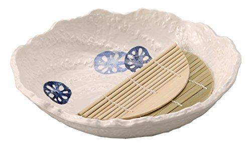 萬古焼 ておこし れんこん 8号 麺鉢 (スノコ付) (青) 15373