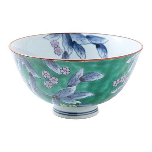 伊万里焼 染錦 山桜茶付(緑濃/大) 12cm 徳七窯 to70173