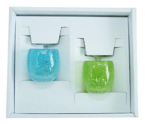 泡ぐいのみ2個ギフトセット(水・緑) 【感謝をこめて沖縄伝統工芸品を贈ります】
