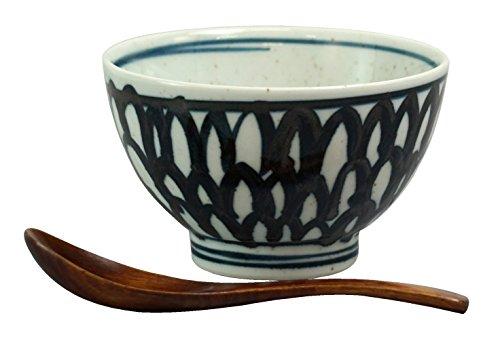 西海陶器 waveH 石垣紋 リゾット碗セット(木レンゲ付) 14270