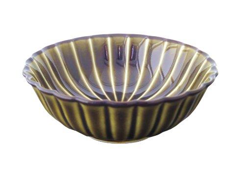 小兵さんちの食卓・ぎやまん陶 菊形浅小鉢 12cmx高さ4cm 利休グリーン