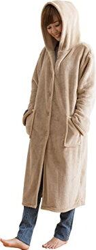 mofua ( モフア ) 着る毛布 プレミアムマイクロファイバー ルームウェア フード付き 着丈110cm ベージュ 48476416