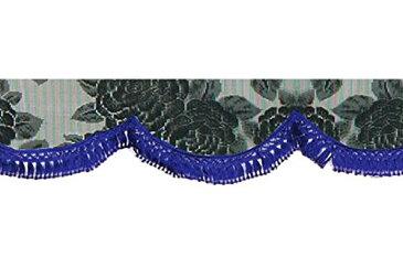 雅 フロントカーテン バラ柄レースフロントカーテン S(横1500mm) フレンジ:ブルー MFC-RA-BKS