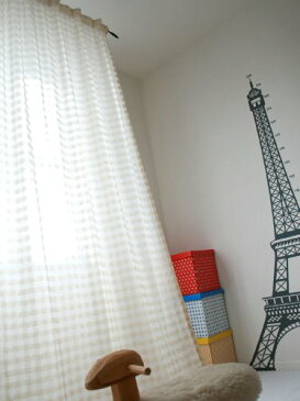 SunnyDayFabric パネルカーテン ふんわりガーゼ風格子 アイボリー 約100cm幅×約230cm丈【カーテンフック+裾上げテープ付き】