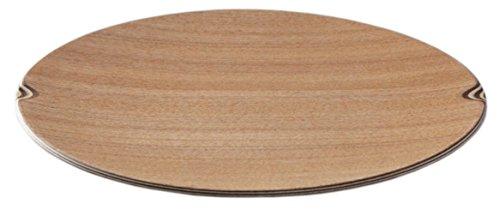 プレート しましま 丸型 大 木製 日本製 シオジ 直径約21cm