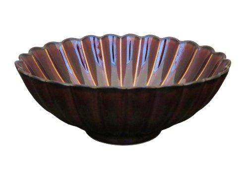 小兵さんちの食卓・ぎやまん陶 菊形楕円鉢 16cm 漆ブラウン
