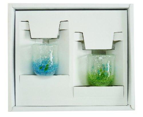 新花見ぐいのみ2個ギフトセット(水・緑) 【感謝をこめて沖縄伝統工芸品を贈ります】