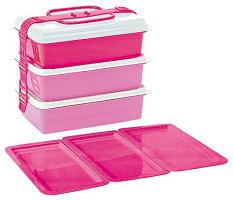 ピクニックランチボックスファミリーパック3段取り皿3枚付きピンク
