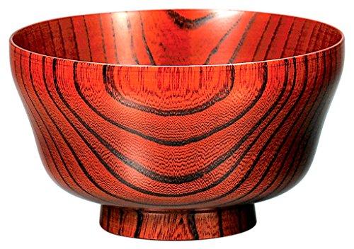 欅4.3まゆ型椀 赤摺 KE15-005