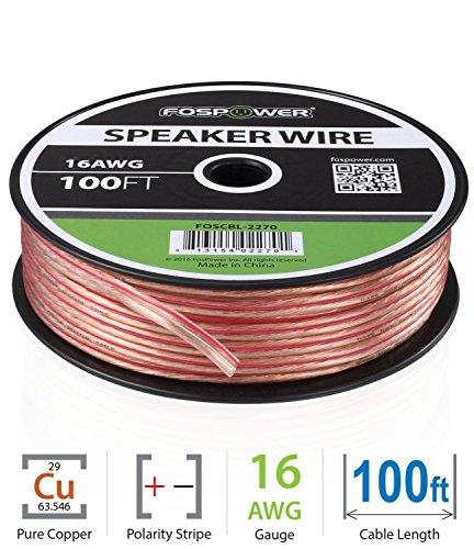 FosPower 16AWG 純銅 高純度OFC スピーカーケーブル / スピーカーワイヤーアンプやA / Vレシーバにオーディオスピーカーを接続