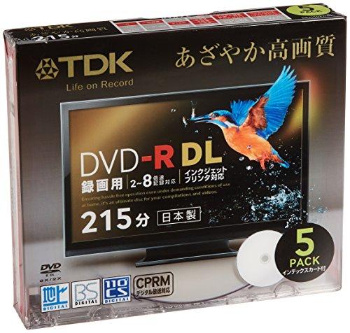 TDK 録画用DVD-R DL(215分) デジタル放送録画対応(CPRM) ホワイトワイドプリンタブル 2-8倍速 日本製 5mmスリムケース 5枚パック DR215DPWB5S