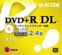 RiTEK D+DL2X5PW DVD+Rデータ用 片面2層 8.5GB 1回記録用 2.4倍速 プリンタブル 白 スリムケース 5枚 D+DL2X5PW
