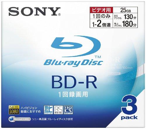 Sony BD-R 25GB 録画用 2倍速対応 追記型 10mmケース 3枚パック 3BNR1VBSJ2