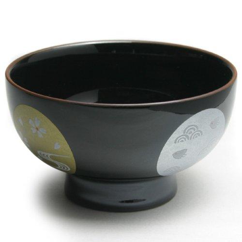 有田焼 機能生活具 磁器の汁碗 黒塗金銀桜紋 丸型碗(小) 170cc