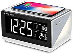 【2019年 アデッソ ワイヤレスチャージングクロック デジタル時計 温度/日時表示 ワイヤレス充電(Qi規格) 対応 iPhone/Android アラーム スヌーズ ベッドランプ付き(間接照明) 置き時計 QA-02SG(スペースグレー)[un]