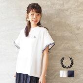 FREDPERRYフレッドペリーTシャツレディースSEERSUCKERSHIRTF5396半袖白ホワイトネイビー無地ロゴ刺繍ワンポイントラインシンプルカジュアル上品きれいめスポーティおしゃれ日本製ママコーデ