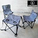 VOLCOM ボルコム アウトドアチェア テーブル セット CIRCLE STONE CHAIR & TABLE SET D67220JL H12L アウトドア キャンプ 椅子 チェア ストライプ ボーダー ロゴ 折り畳み フェス アウトドアテーブル 3点セット おしゃれ キャンプ女子 キャンジョ ブランド 3