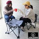 VOLCOM ボルコム アウトドアチェア テーブル セット CIRCLE STONE CHAIR & TABLE SET D67220JL H12L アウトドア キャンプ 椅子 チェア ストライプ ボーダー ロゴ 折り畳み フェス アウトドアテーブル 3点セット おしゃれ キャンプ女子 キャンジョ ブランド 1