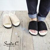 SoniaCソニアシースウェードサンダルWIN01レディースシューズ靴サンダルファーサンダル秋冬おしゃれかわいい大人シンプルイタリアインポート正規品