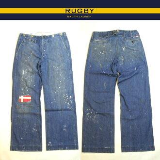Ralph Lauren Rugby denim Rugby Ralph Lauren jeans Indigo Denim buggy fit boot cut work pants damage & paint processing 02P03mar13