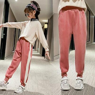 おすすめ 韓国 女の子 子供服 ボアパンツ ライン あったか ピンク 韓国子供服 キッズ お揃い 通学 部屋着 暖か 裏起毛 ボア ラインパンツ 5歳 6歳 7歳 8歳 9歳 10歳 小6 小学生