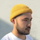 【ADVANCE】(アドバンス)COTTONBEANIE(YELLOW)/SOLIDKNITBEANIECAP/くるくるビーニーワッチキャップ帽子無地ニット帽ニットキャップイエロー/黄色