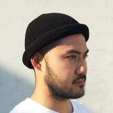 【ADVANCE】(アドバンス)COTTONBEANIE(BLACK)/PLAINKNITBEANIECAP/くるくるビーニーワッチキャップ帽子ニット帽ニットキャップブラック/黒