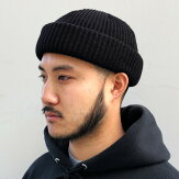 【ADVANCE】(アドバンス)ACRYLBEANIE(BLACK)/SOLIDKNITBEANIECAP/くるくるビーニーワッチキャップ帽子無地アクリルニット帽ニットキャップブラック/黒