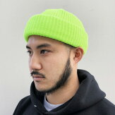 【ADVANCE】(アドバンス)ACRYLBEANIE(NEONYELLOW)/SOLIDKNITBEANIECAP/くるくるビーニーワッチキャップ帽子無地アクリルニット帽ニットキャップブラック/ネオンイエロー蛍光イエロー