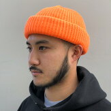 【ADVANCE】(アドバンス)ACRYLBEANIE(NEONORANGE)/SOLIDKNITBEANIECAP/くるくるビーニーワッチキャップ帽子無地アクリルニット帽ニットキャップブラック/ネオンオレンジ蛍光オレンジ