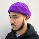 【ADVANCE】(アドバンス)ACRYLBEANIE(PURPLE)/SOLIDKNITBEANIECAP/くるくるビーニーワッチキャップ帽子無地アクリルニット帽ニットキャップパープル