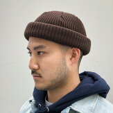 【ADVANCE】(アドバンス)ACRYLBEANIE(BROWN)/SOLIDKNITBEANIECAP/くるくるビーニーワッチキャップ帽子無地アクリルニット帽ニットキャップパープル