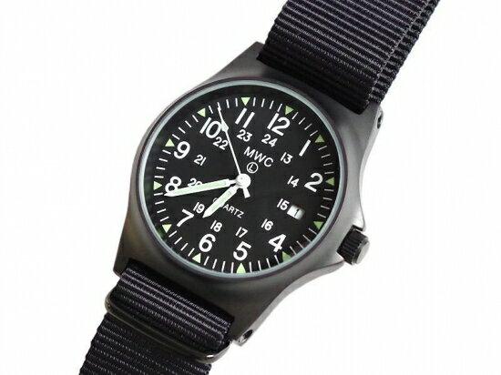 メンズ 腕時計 ブランドミリタリーウォッチ 軍用時計 メンズ腕時計 ミリタリー腕時計MWC時計 G10LM PVD ブラック 35mm クォーツ 50m・165ft防水 スクリューケースバック ガラス風防 ブラックPVD NATO STRAP スーパールミノバ夜光 US24時間ダイアル 米軍モデル