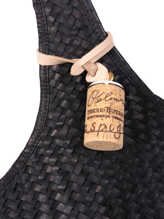 TIBERIO FERRETTI SACCA イントレチャート ショッピング型メッシュバッグ ブラック メッシュレザーバッグ ティベリオフェレッテ サッカ