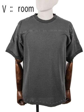 【国内正規品】 V::room ヴイルーム ヴィンテージ風切替Tシャツ 半袖カットソー ブラック ヴィルーム MVR19S8020