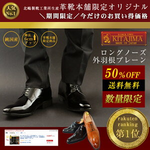 No.1931ロングノーズ外羽根プレーン【6cmヒールアップ】送料・代引手数料無料!