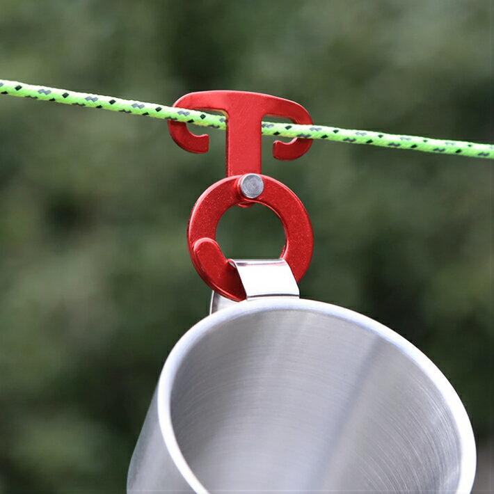引掛けフック ロープフック ロープハンガー キャンプ アウトドア 6個セット [UpAStorm] 収納袋 ロープ カラビナ付き