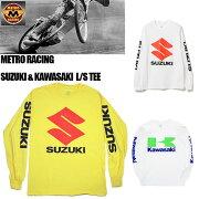 【METRORACING】メトロレーシングロングスリーブTシャツsuzukikawasakiスズキカワサキモーターサイクルアメカジメンズ長袖L/STEEバイカー/T128T129